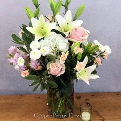 Beautiful Whisper Is Pink And White Premium Blooms In A Tall Vase
