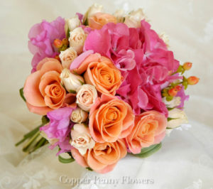 Hot Pink And Salmon Wedding Bouquet