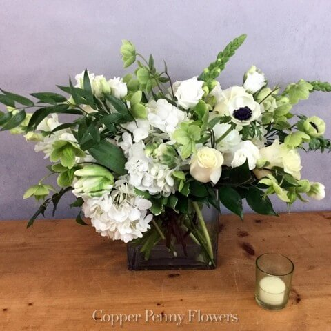 Copper Penny Flowers Designer's Choice White flower arrangement