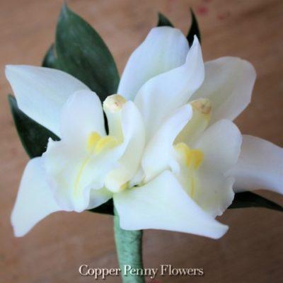White Cymbidium Orchid Boutonnière