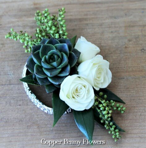 White rose and succulent corsage 1 img 3084 mightylinksfo