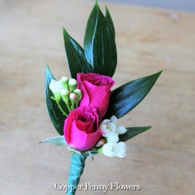 Bright Pink Rose Boutonnière