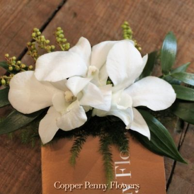 White Dendrobium Floral Pocket Square