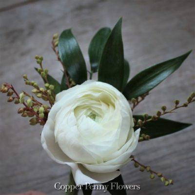 White Ranunculus Boutonnière