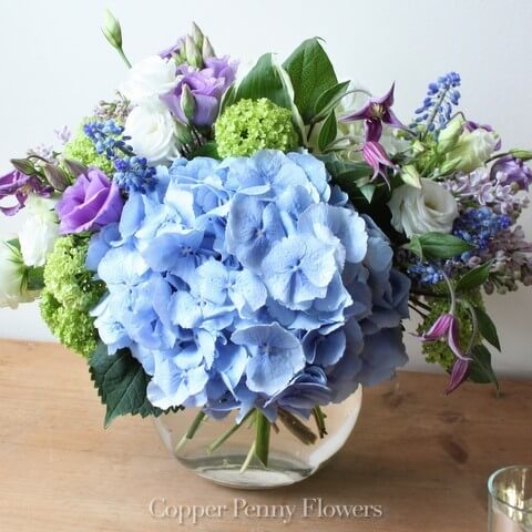 Blue Moon flower arrangement features blue hydrandea with lime green and lavender accents
