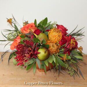 Pearfectly Autumn floral design roses mums protea pears seeded eucalyptus