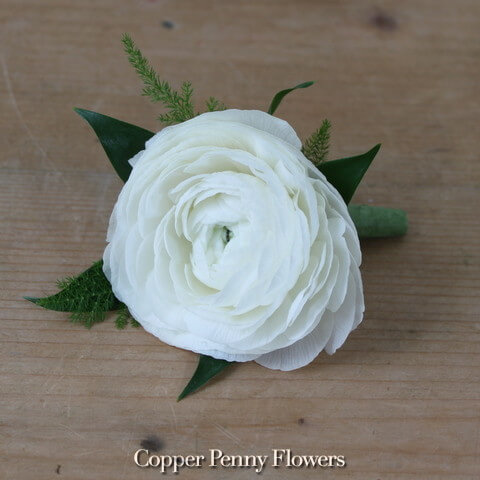 White ranunculus boutonniere new from copper penny flowers white ranunculus boutonnire mightylinksfo