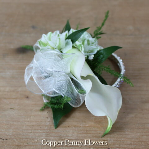 White Calla Lily Corsage New From Copper Penny Flowers