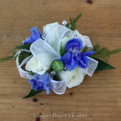 White Rose And Delphinium Corsage