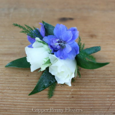 White Rose And Delphinium Boutonnière