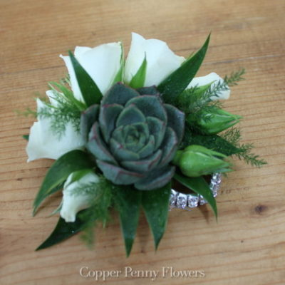 White Rose And Succulent Corsage
