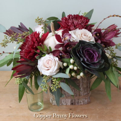 Ruby Daydream flower arrangement featuring roses and mums
