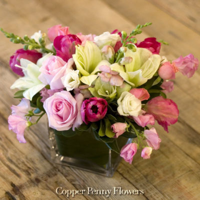 Afternoon Whimsy Floral Arrangement From Copper Penny Flowers Featuring Amaryllis And Pink Roses And Ranunculus
