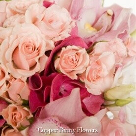 Beth's Tranquility bouquet in pinks with orchids and roses
