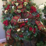 Holiday Evergreen Wreath Decorated With Roses, Succulents, Berries, Opulent Bow