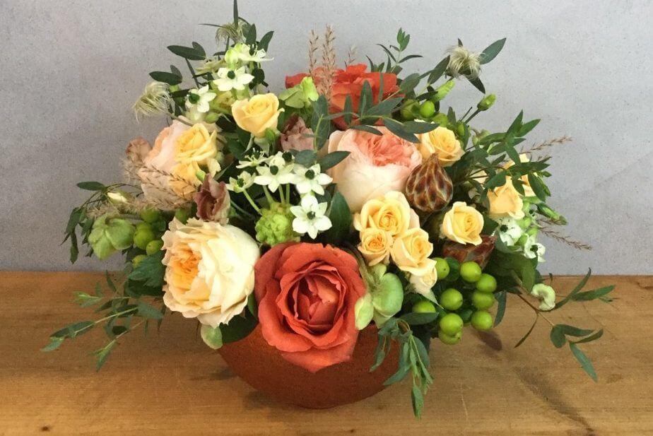 Copper Calliope is copper and peach-hued blooms in a copper bowl