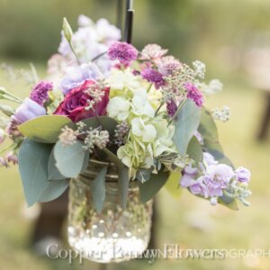 mason jar floral arrangement from Nutting Lake MA