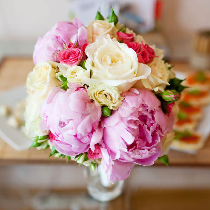 Bridal Bouquet Of Roses And Peonies