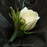 Build Your Own Rose Boutonniere With Single White Long Stem Rose