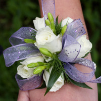 White With Purple Corsage