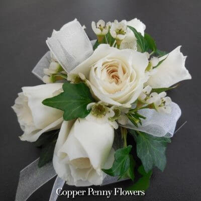 White Spray Rose Corsage